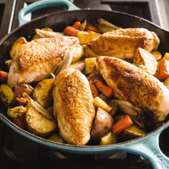 Cast Iron Pan Roasted Chicken Breasts With Root Vegetables