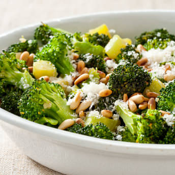 Skillet Broccoli With Garlic Pine Nuts And Parmesan