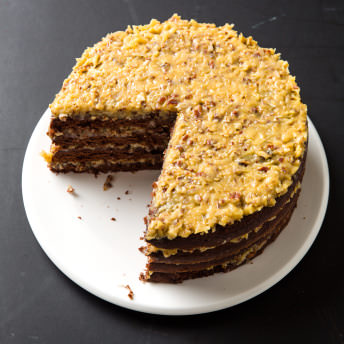 German Chocolate Cake with Coconut Pecan Filling Americas Test