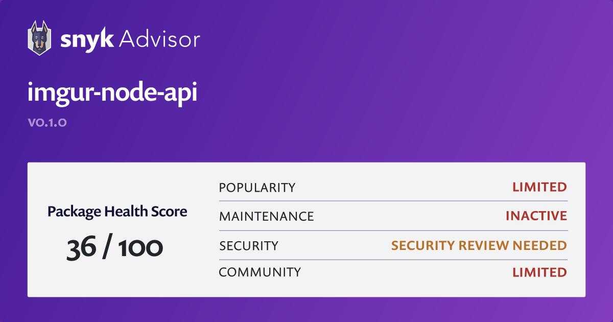 imgur node api   npm Package Health Analysis   Snyk