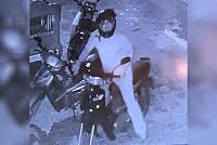 The thieves broke off the motorbike,...