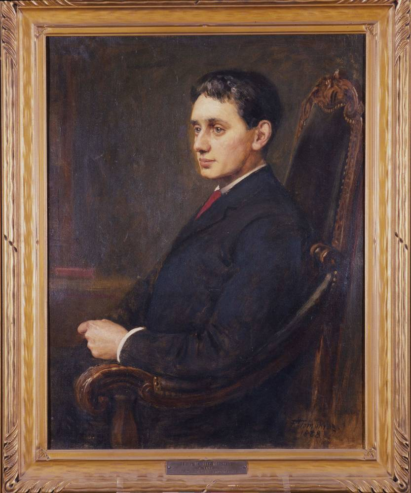 Historical portrait in wooden frame of Justice Louis D. Brandeis