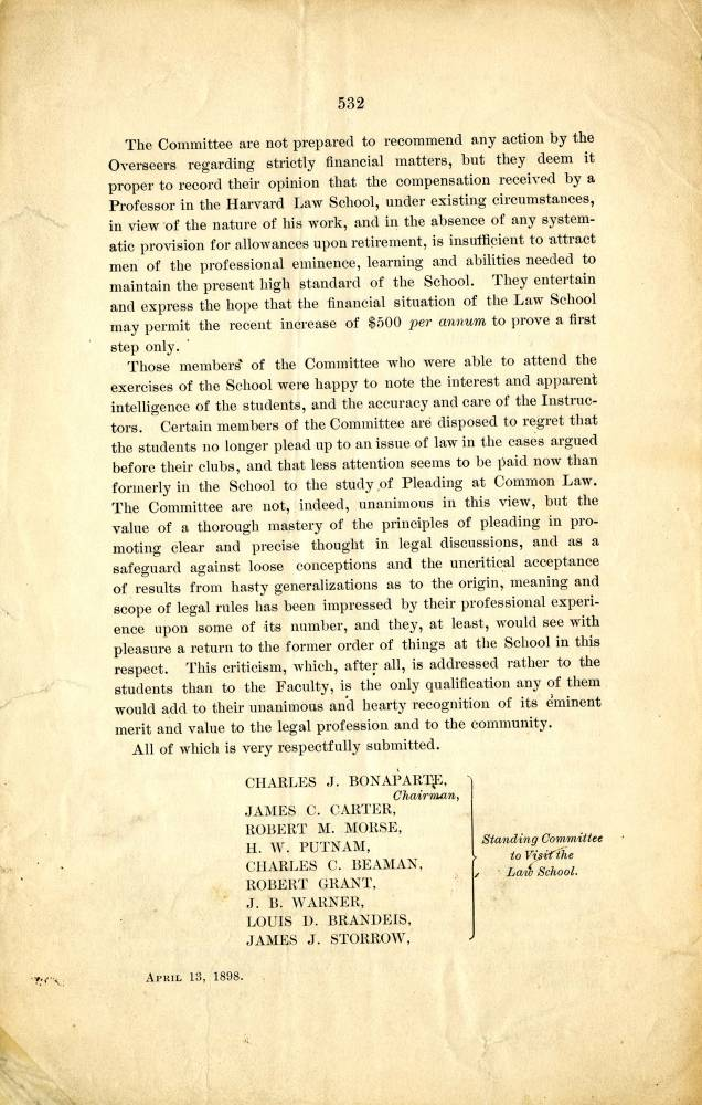 Page 532 of Brandeis papers with date on bottom left of April 13, 1898