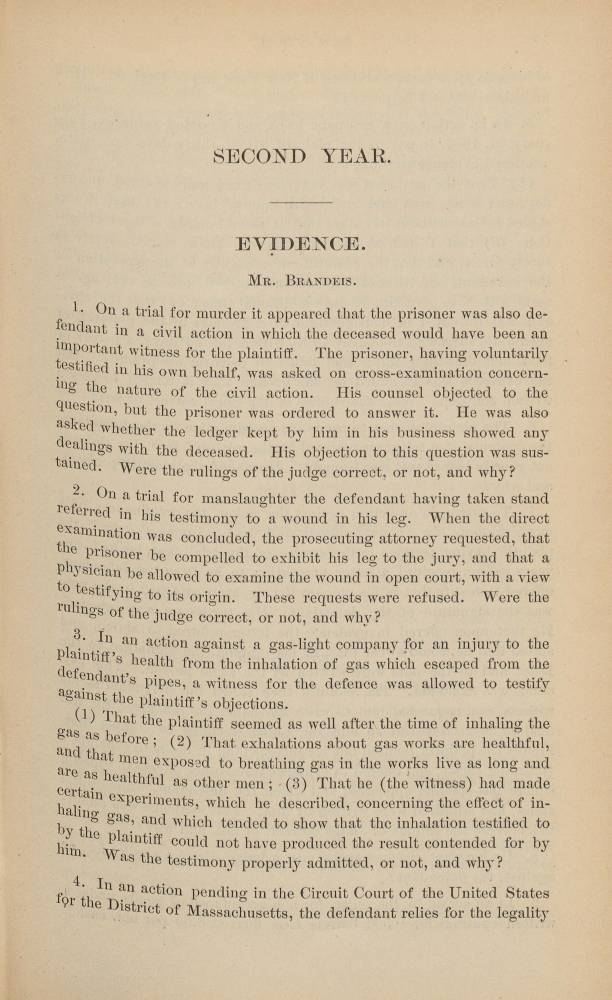Single page of Brandeis papers with title