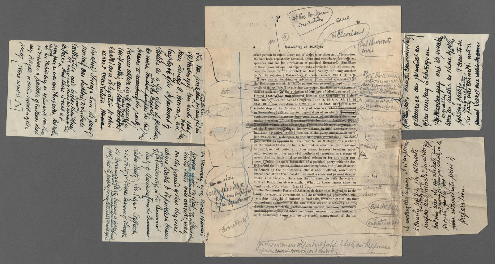 Historical photo of Brandeis Papers marked up with corrections
