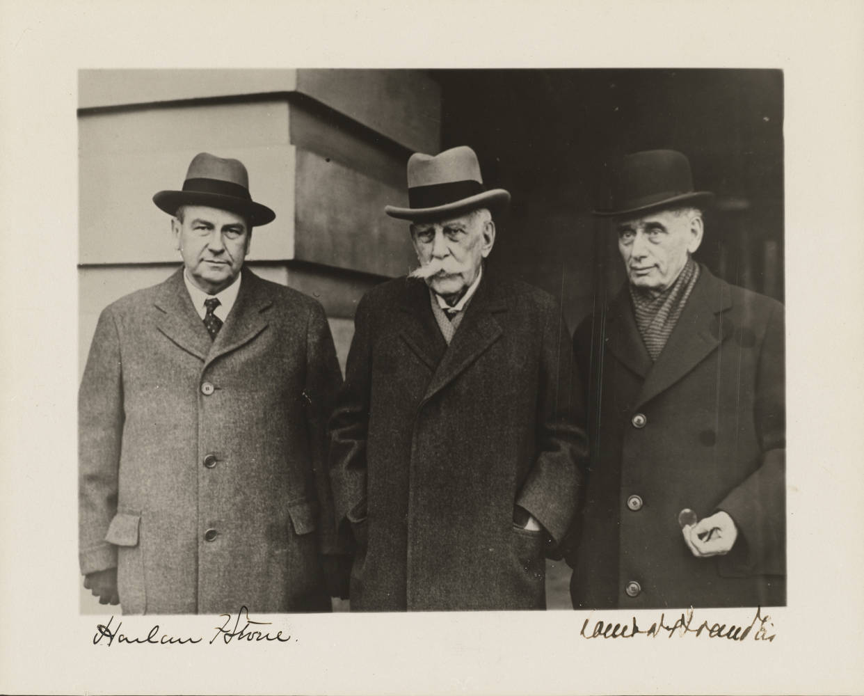 Historical photo of U.S. Supreme Court Justices Harlan Fiske Stone, Oliver Wendell Holmes, and Louis Dembitz Brandeis , ca. 1927