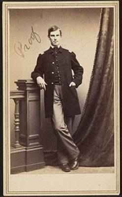 Photo of Lieutenant Holmes at 21, posing for a photo in his Civil War uniform