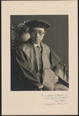 """John Ching Hsiung Wu, who was a student at HLS in 1923 and would be the principal author of the Constitution of the Republic of China, inscribed this photo in 1930 to his """"intellectual godfather."""""""