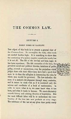 """A first edition of """"The Common Law"""" (1881), with notes in the margin scrawled by the author"""