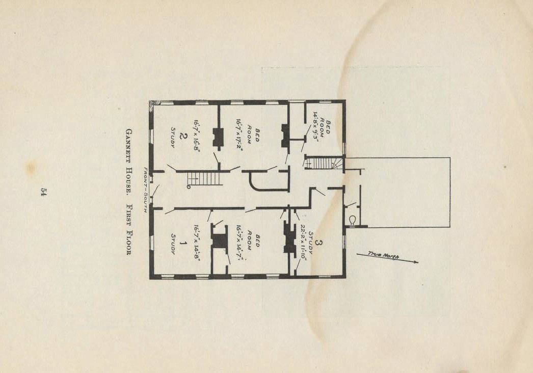 Architectural plans, circa 1907, locate Gannett House at the corner of Holmes Place and Massachusetts Avenue.