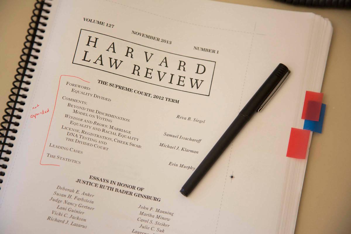 Close up of Harvard Law Review binder, November 2013, Volume 127