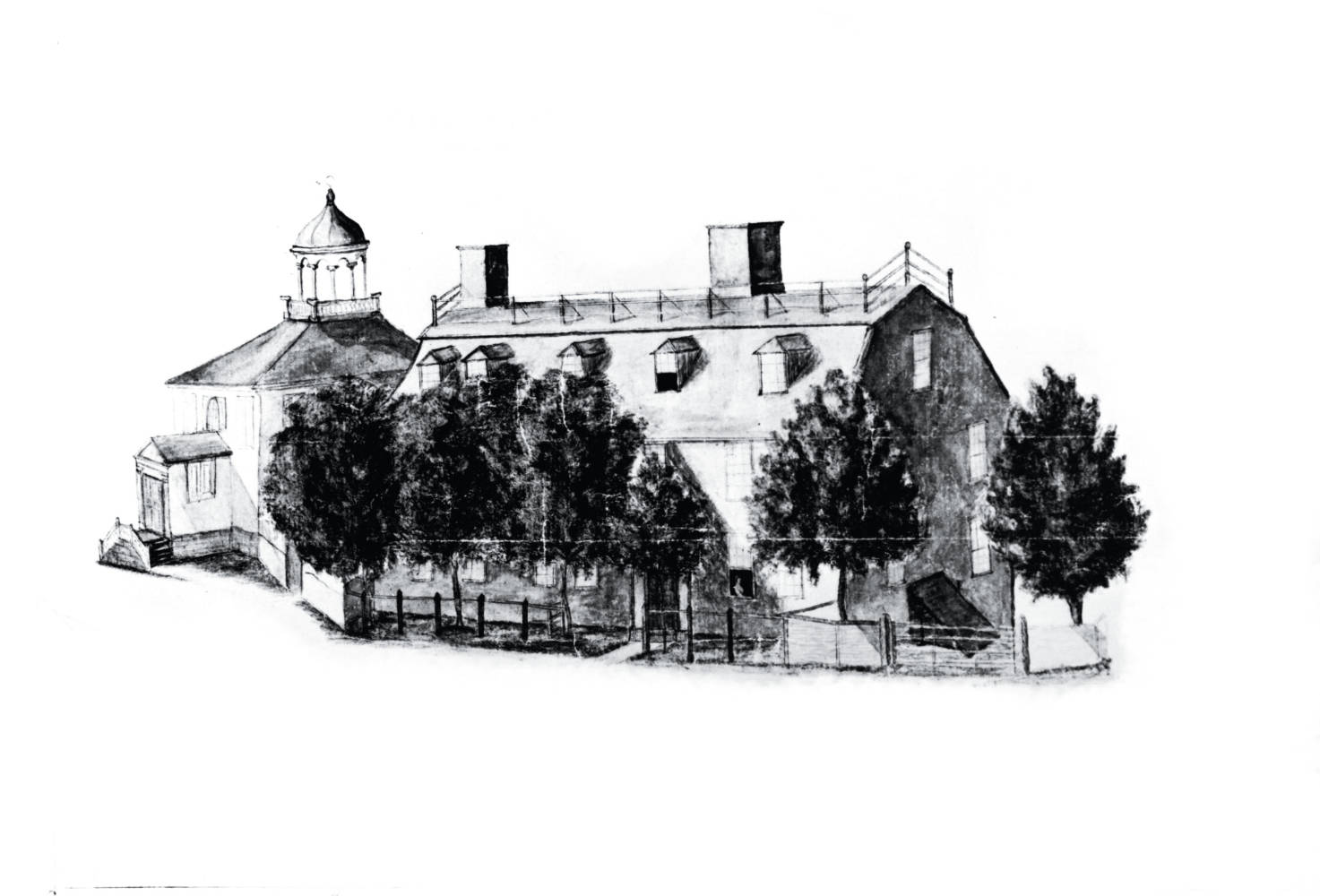 Black and white sketch of College House Two