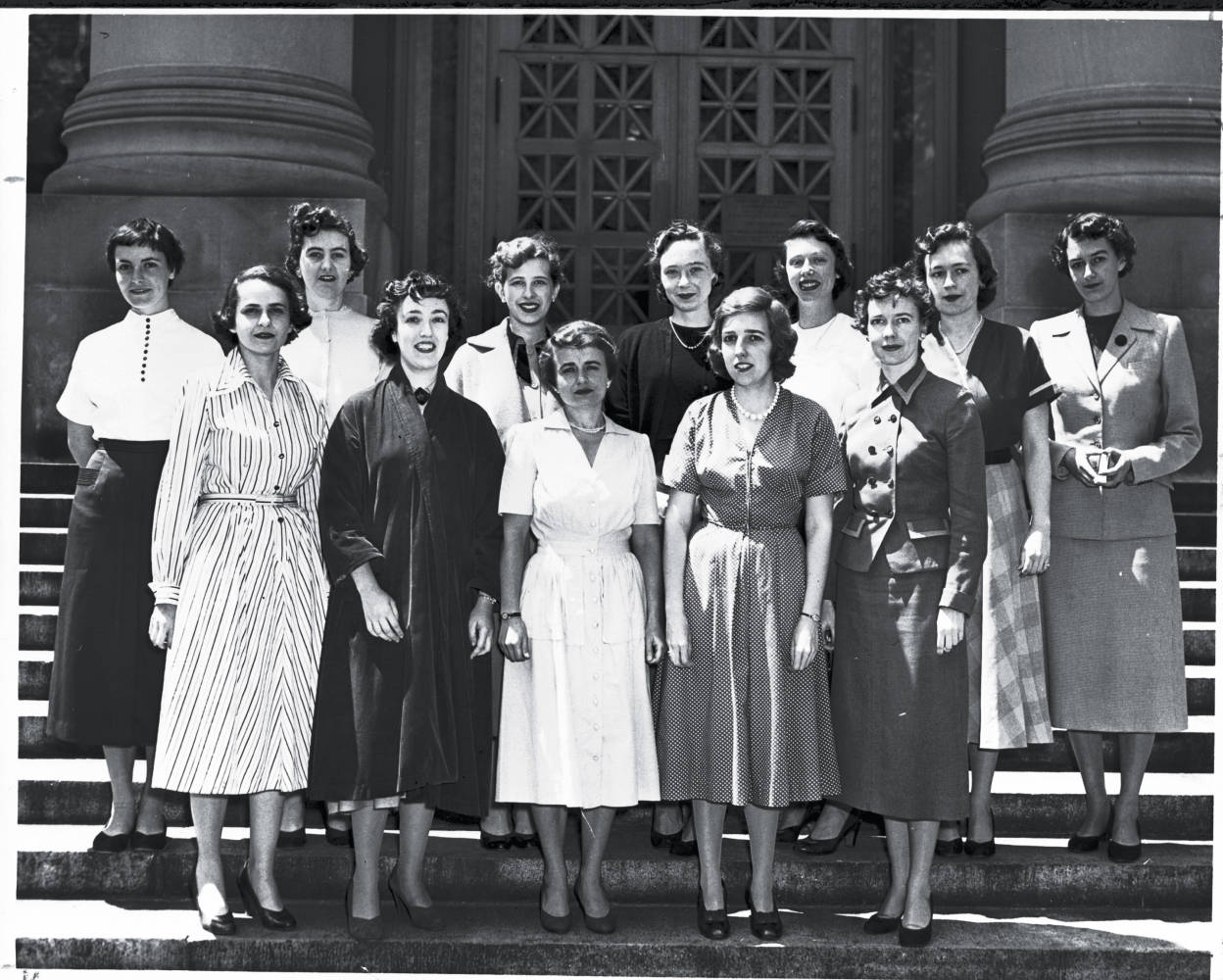 Photograph of the first class of woman at HLS outside Langdell
