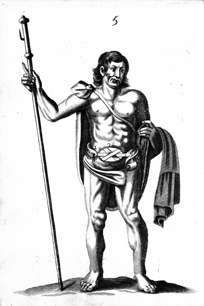 Illustration of man from an early 17th century book in the HLS Historical and Special Collections