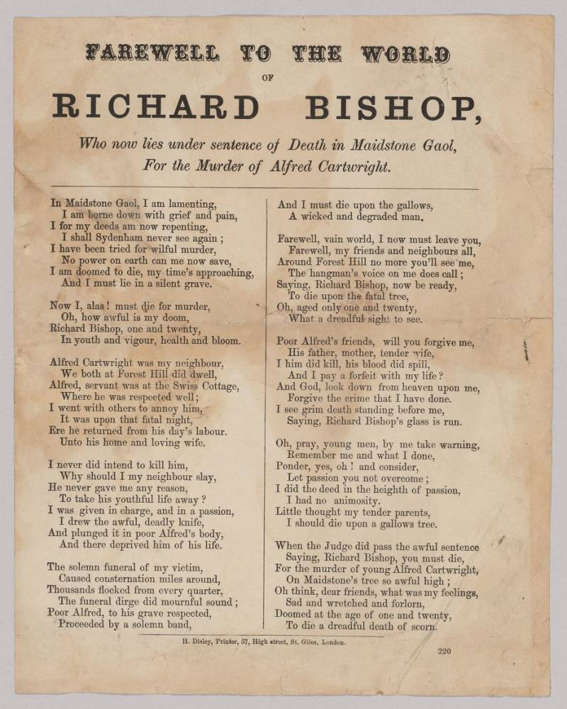 Farewell to the World of Richard Bishop, Who Now Lies Under Sentence of Death in Maidstone Gaol, for the Murder of Alfred Cartwright.