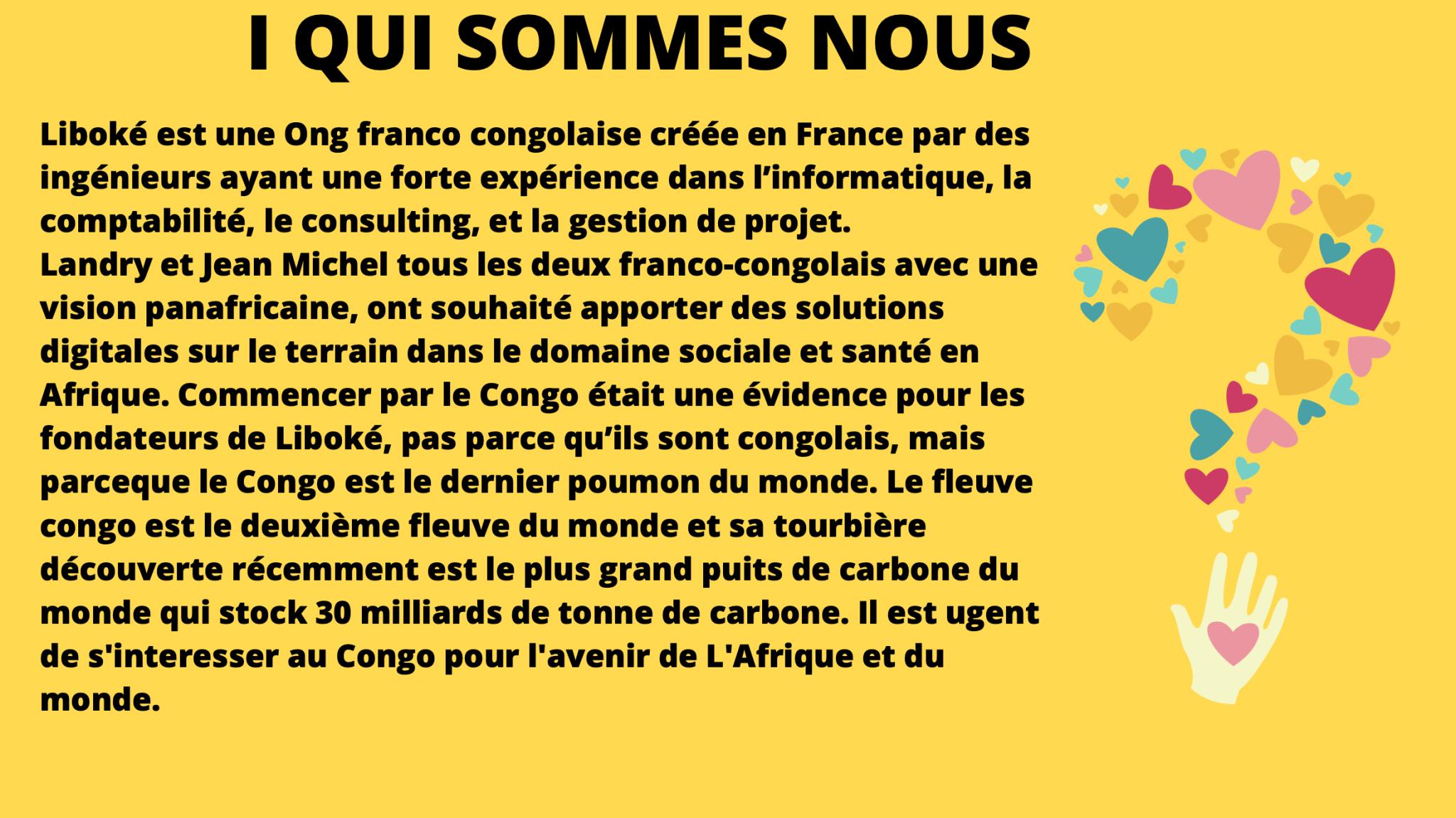 Liboké est une Ong franco congolaise créée en France par des ingénieurs ayant une forte expérience dans l'informatique, la comptabilité, le consulting, et la gestion de projet. Landry et Jean Michel tous les deux franco-congolais avec une vision panafricaine, ont souhaité apporter des solutions digitales sur le terrain dans le domaine sociale et santé en Afrique. Commencer par le Congo était une évidence pour les fondateurs de Liboké, pas parce qu'ils sont congolais, mais parceque le Congo est le dernier poumon du monde. Le fleuve congo est le deuxième fleuve du monde et sa tourbière découverte récemment est le plus grand puits de carbone du monde qui stock 30 milliards de tonne de carbone. Il est ugent de s'interesser au Congo pour l'avenir de L'Afrique et du monde.