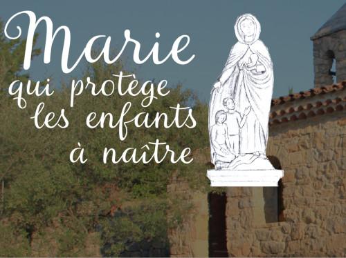 Statue de Marie qui protège l'enfant à naître pour le sanctuaire de Cotignac