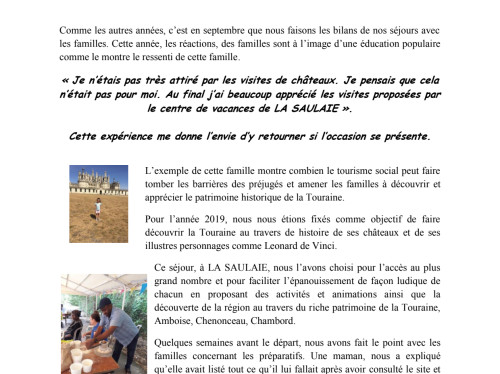 Vacances pour familles défavorisées avec enfants - LEA SOISY 95