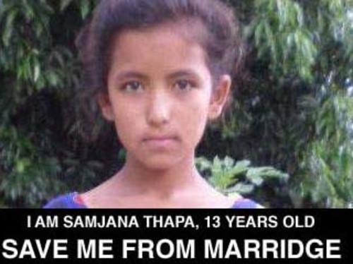 SAUVONS SAMJANA DU MARIAGE, enfant népalaise de 13 ANS