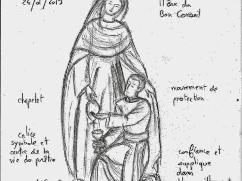"""Sculpture d'une statue de """"Marie qui garde les prêtres"""""""