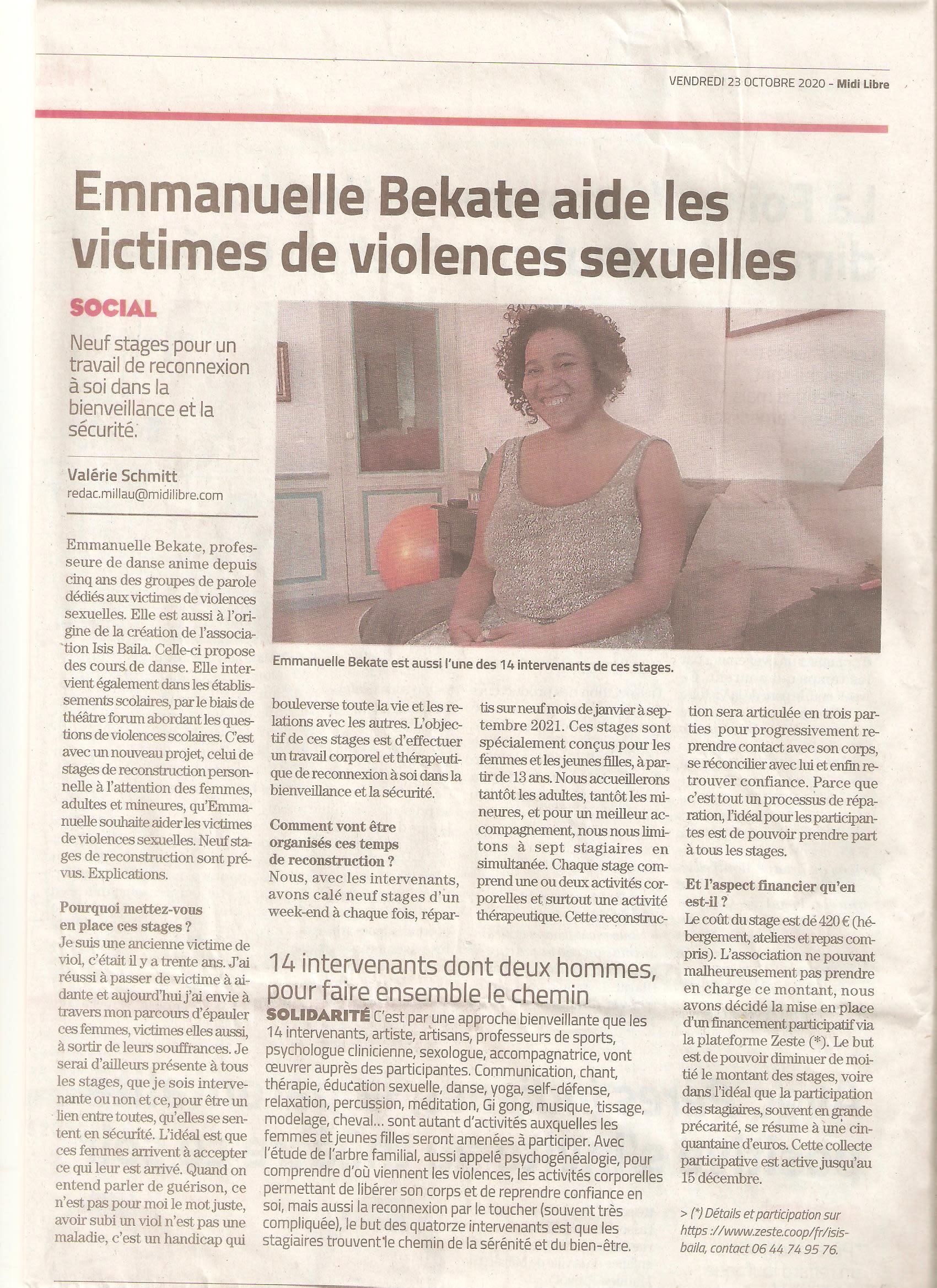 On parle des stages dans la presse; merci à Valérie Sccmitt du Midi Libre pour ce superbe article