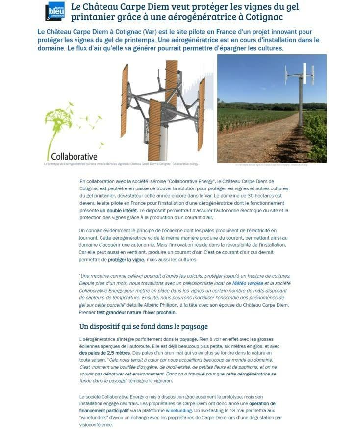 Site pilote en France d'un projet innovant pour protéger les vignes du gel