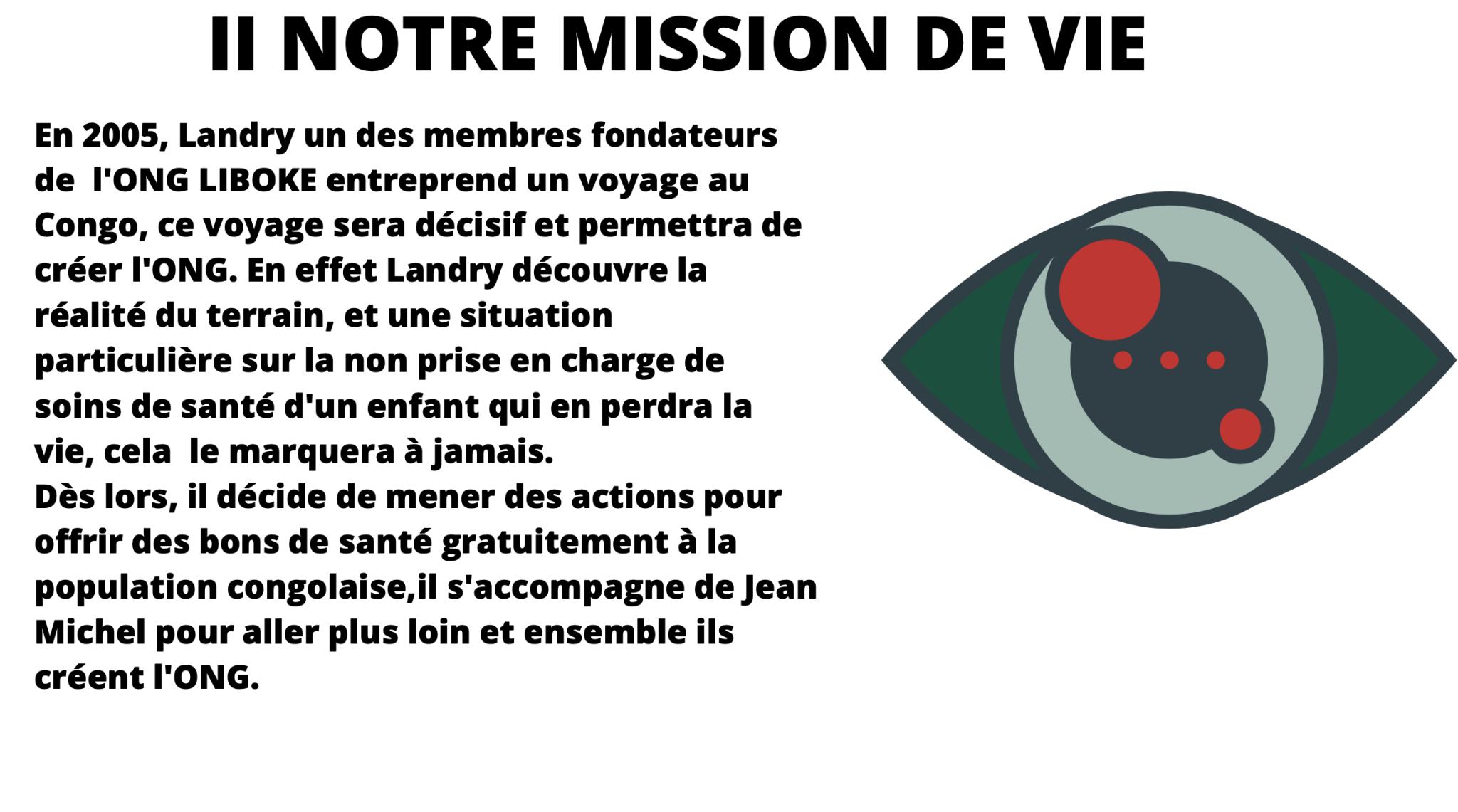 En 2005, Landry un des membres fondateurs de l'ONG LIBOKE entreprend un voyage au Congo, ce voyage sera décisif et permettra de créer l'ONG. En effet Landry découvre la réalité du terrain, et une situation particulière sur la non prise en charge de soins de santé d'un enfant qui en perdra la vie, cela le marquera à jamais. Dès lors, il décide de mener des actions pour offrir des bons de santé gratuitement à la population congolaise,il s'accompagne de Jean Michel pour aller plus loin et ensemble ils créent l'ONG.