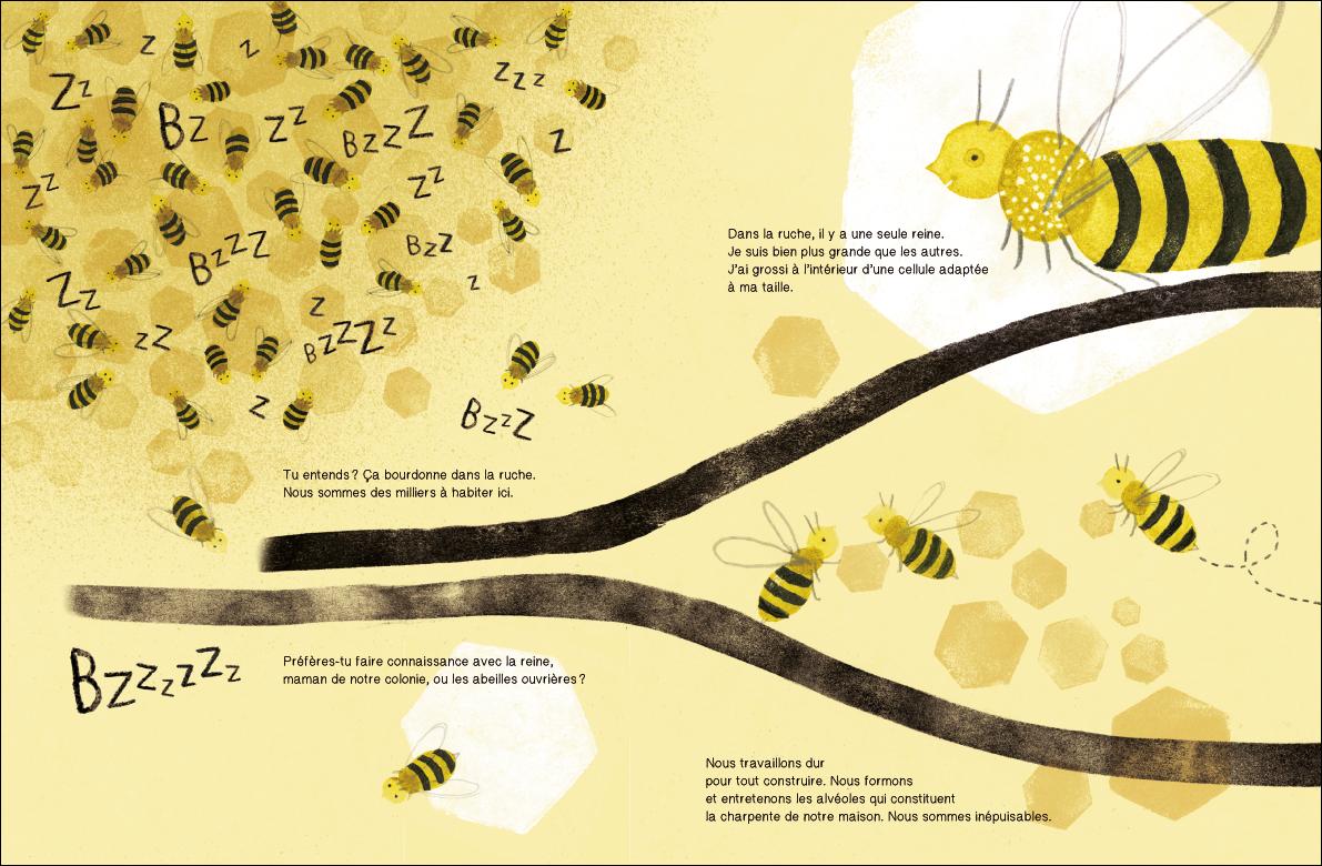 Suis du doigt l'abeille