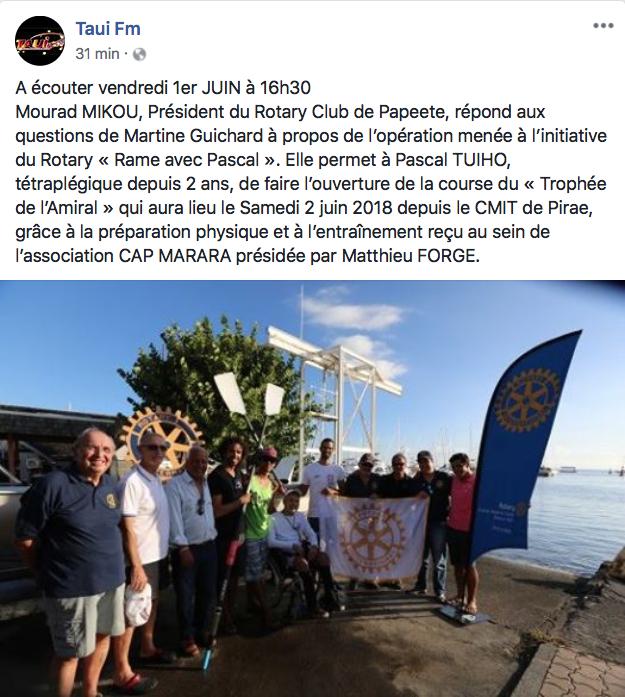 Ce matin on parlait de nous sur la page Facebook de Taui FM!