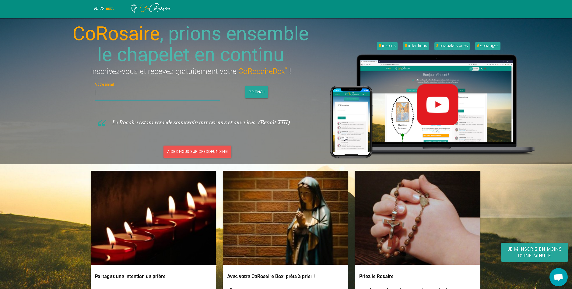 CoRosaire, application PC, Tablette, Smartphone, pour prier ensemble le chapelet en ligne