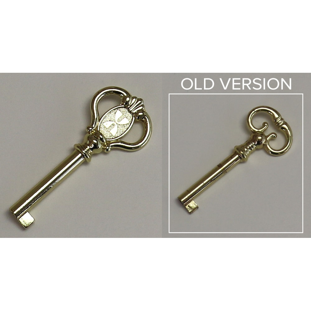 Image for Floor Clock, Curio Cabinet, and Bar Cabinet Door Key 390834. Polished Brass Finish. from Howard Miller Parts Store