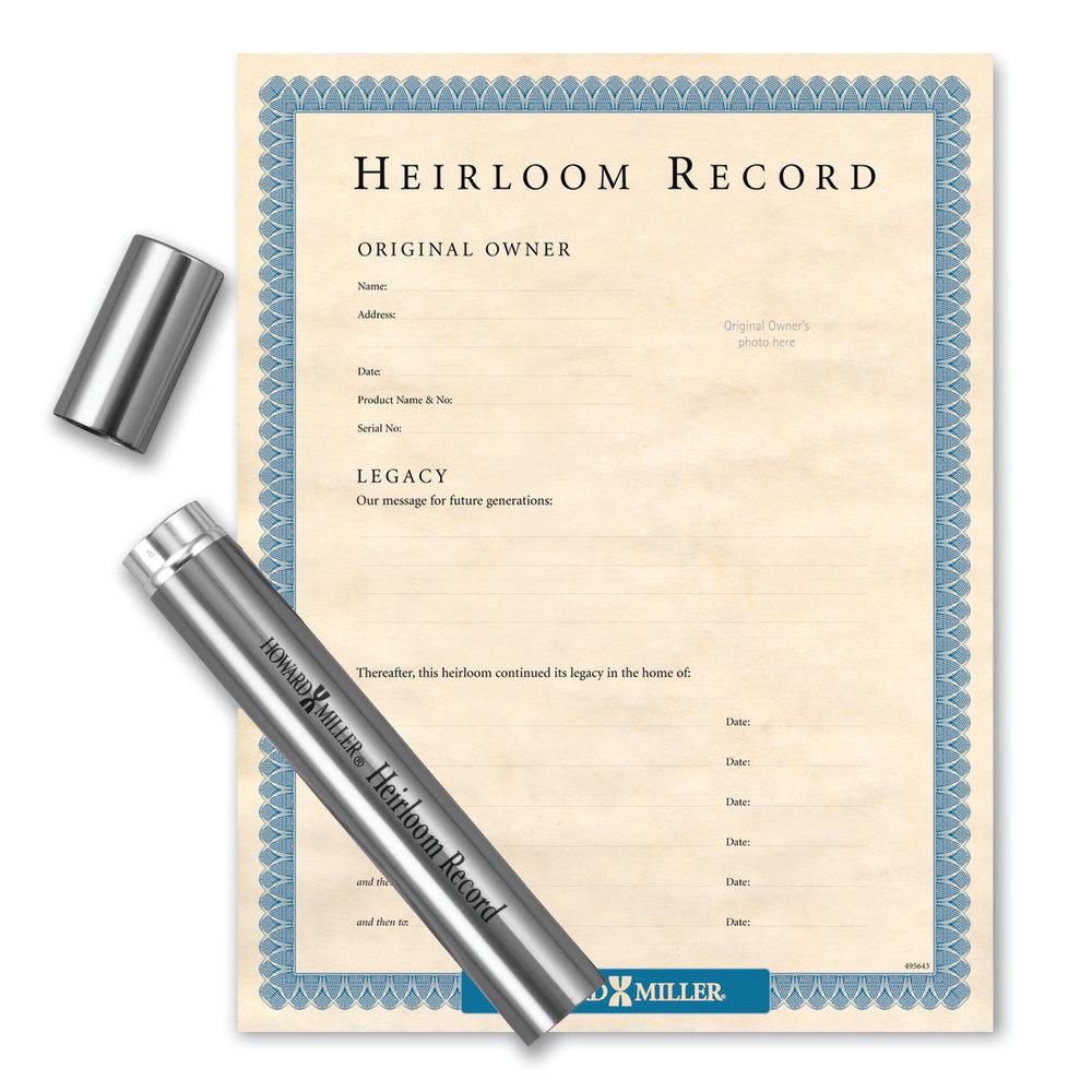 Image for Howard Miller Nickel Capsule & Heirloom Document from Howard Miller Parts Store