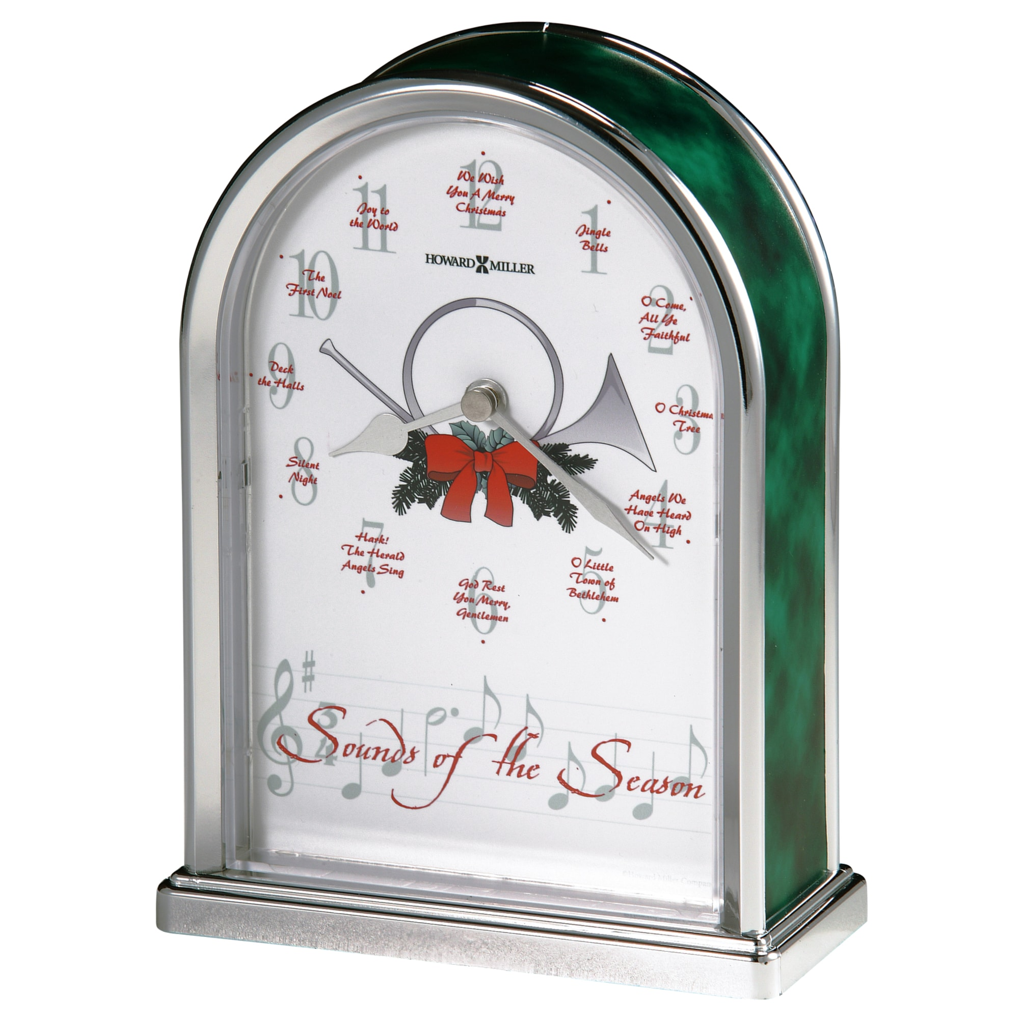 Image for Howard Miller Sounds of the Season Silver Table Clock 645687 from Howard Miller Official Website