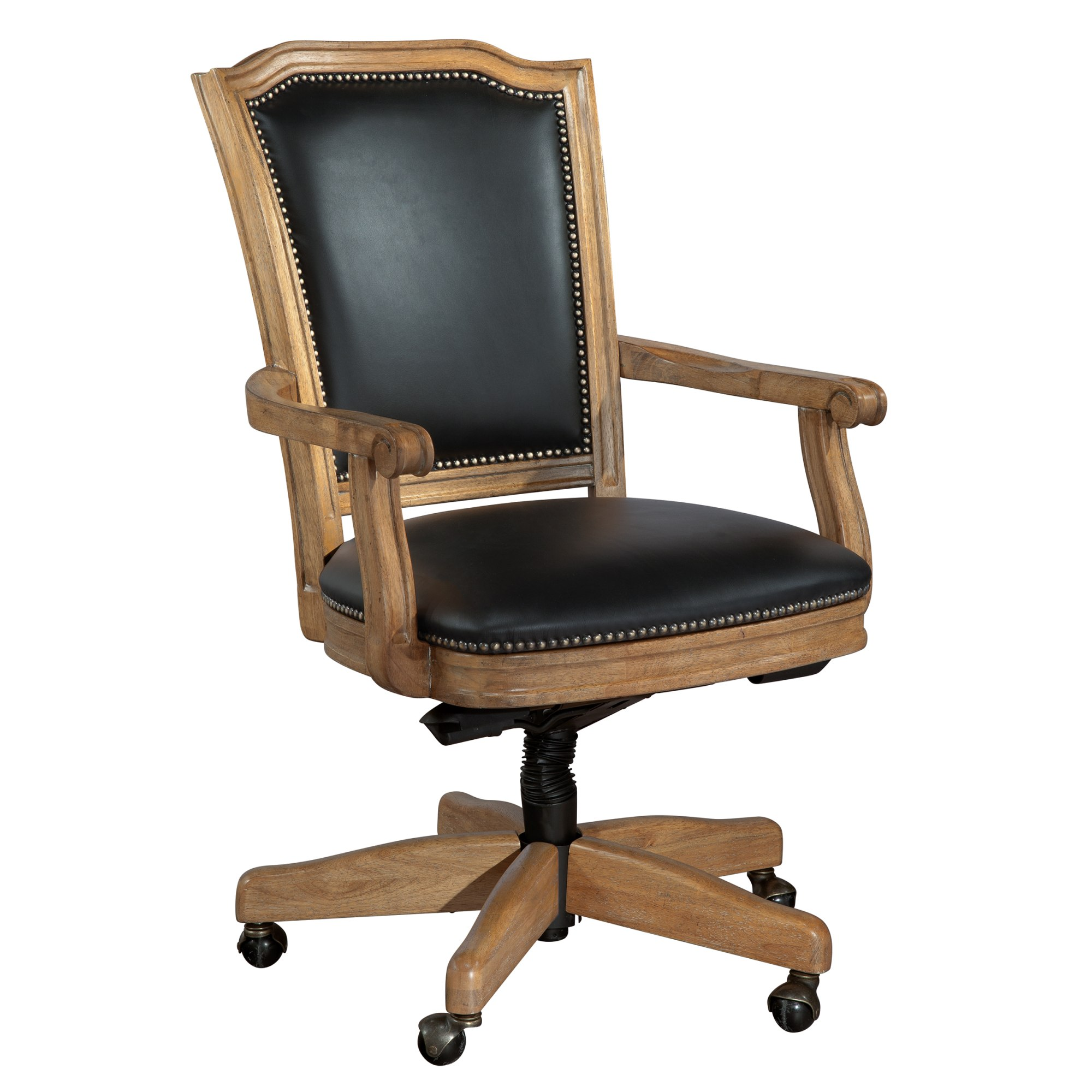 Image for 7-9257B Wood Frame Black Leather Office Chair from Hekman Official Website