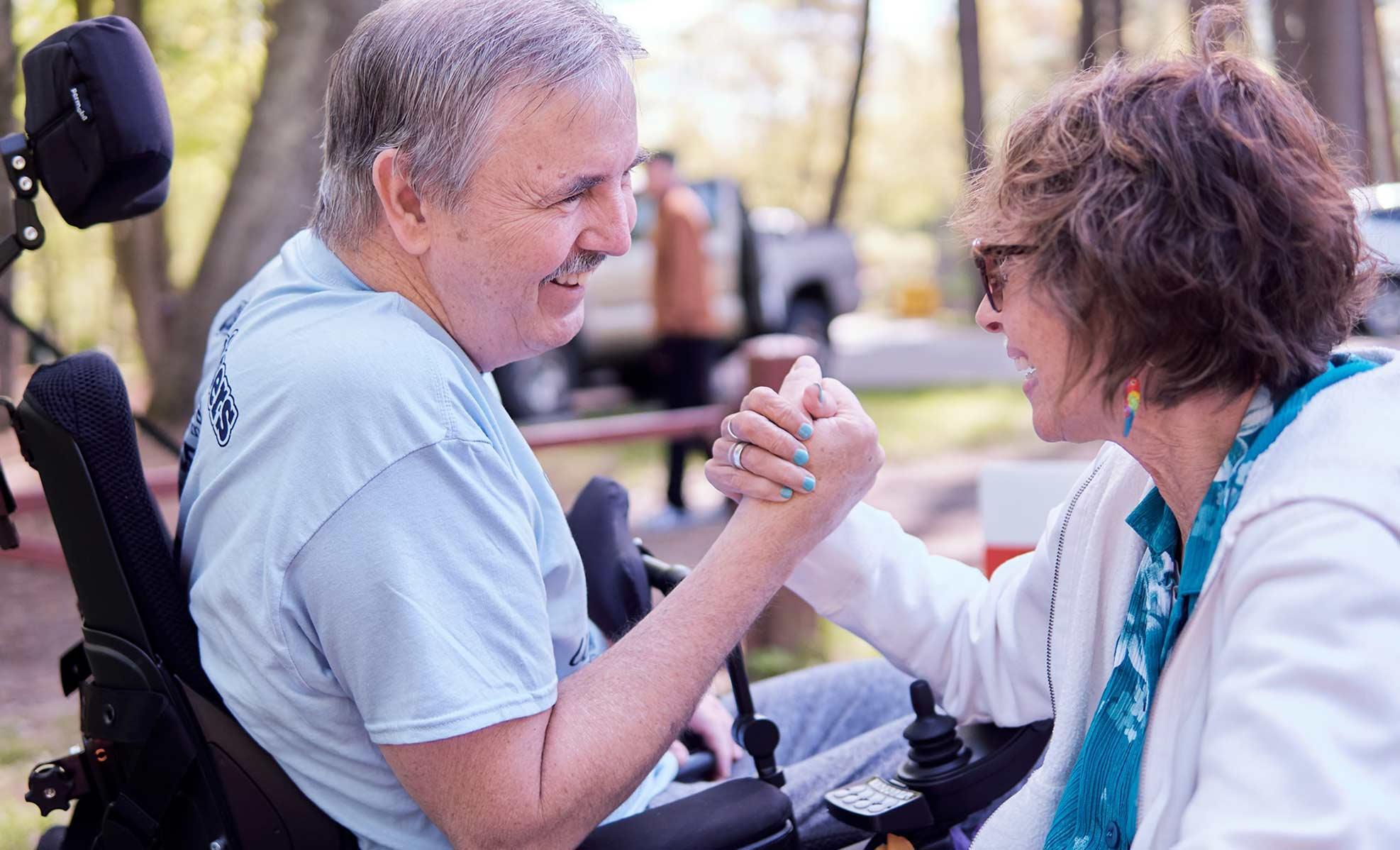man in wheelchair at ALS walk