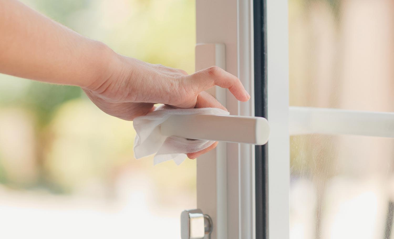 wiping off door handle