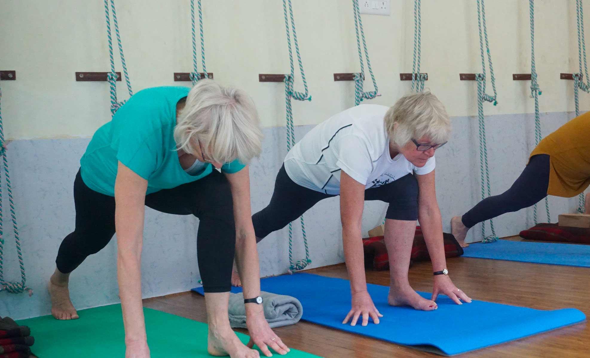 Seniors at a yoga class