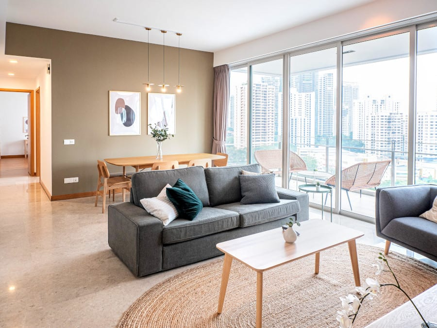 flatshare for rent, hmlet apartment living room interior view