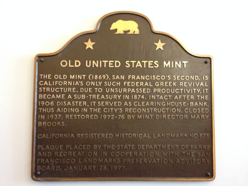 NO. 875 OLD UNITED STATES MINT – State Plaque