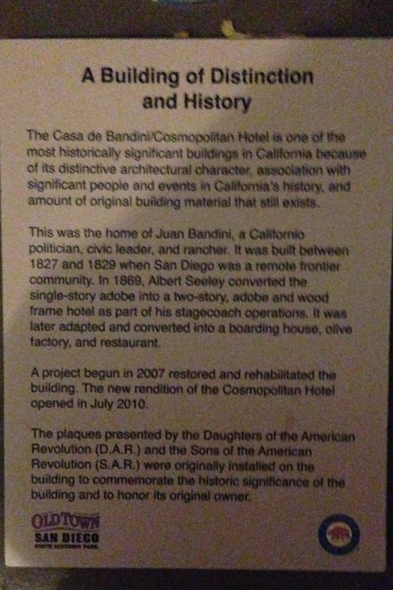 CHL #72  Casa de Bandini Private Plaque