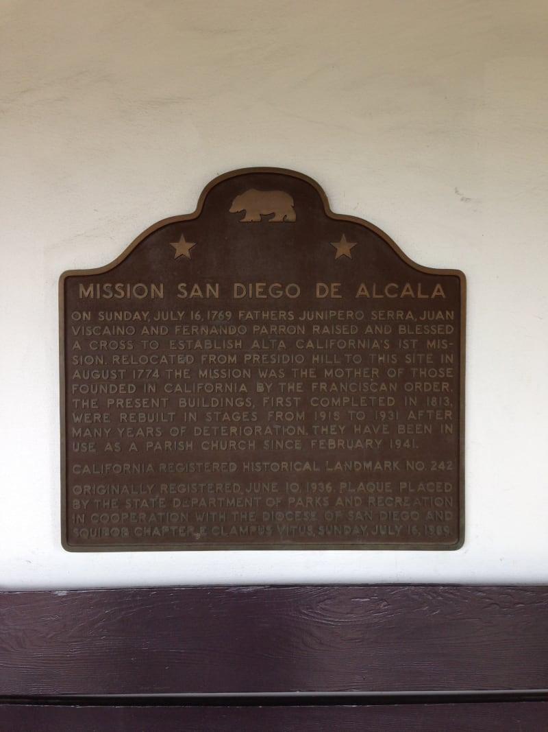 CHL #242: MISSION SAN DIEGO DE ALCALA State Plaque