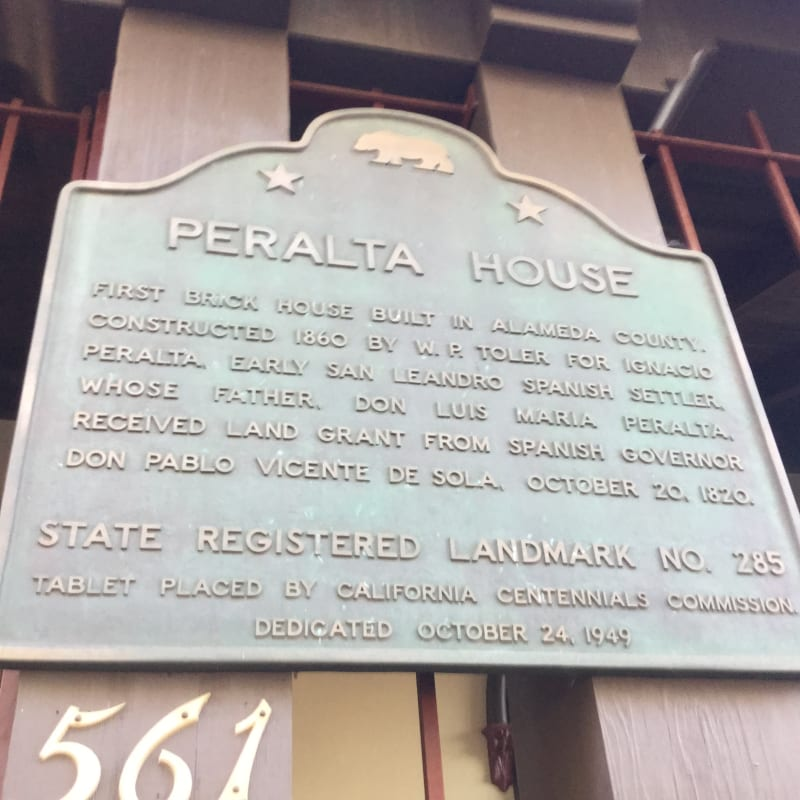 CHL #285  Peralta (Ygnacio) House-   State Plaque