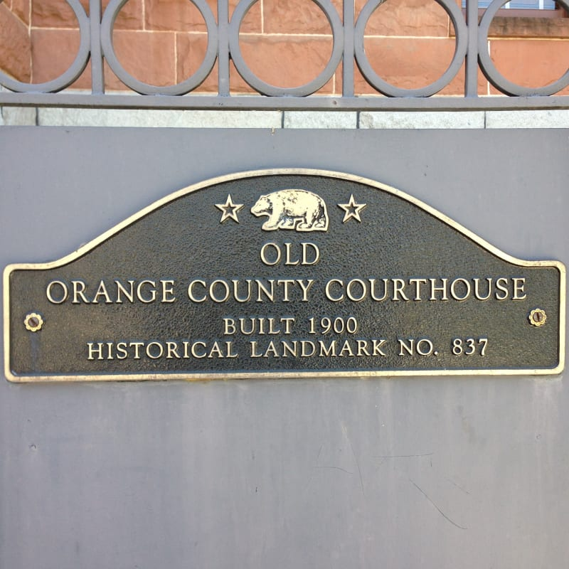 CHL #837 - Old Orange County Courthouse State Plaque