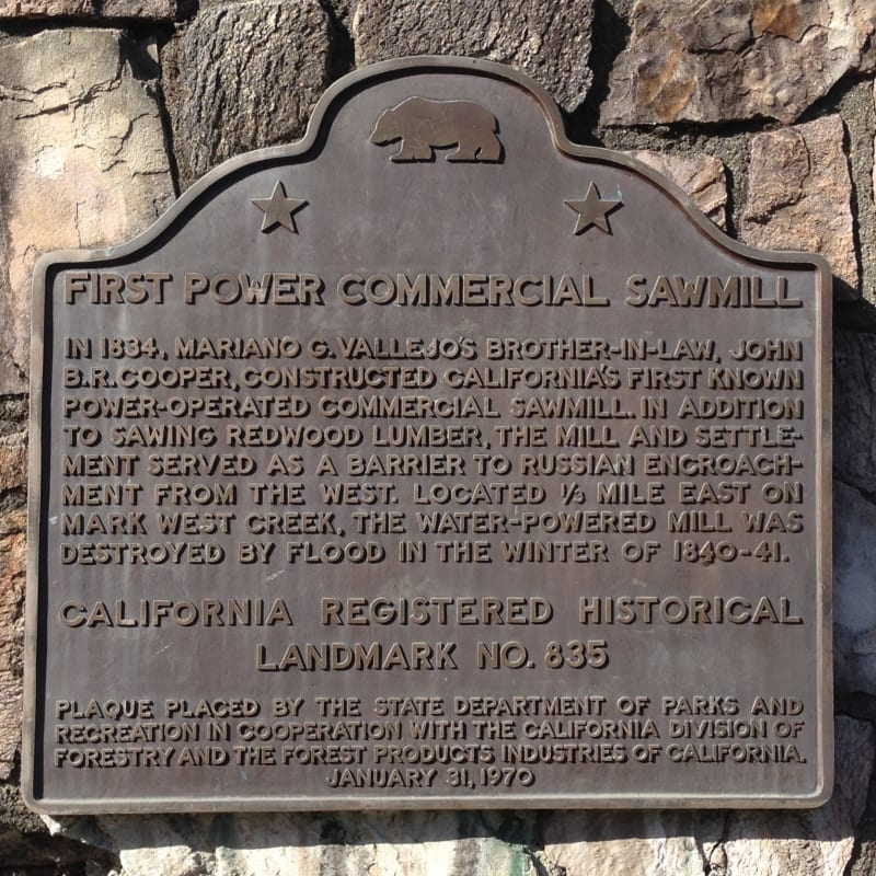 CHL #835 - Cooper's Sawmill State Plaque