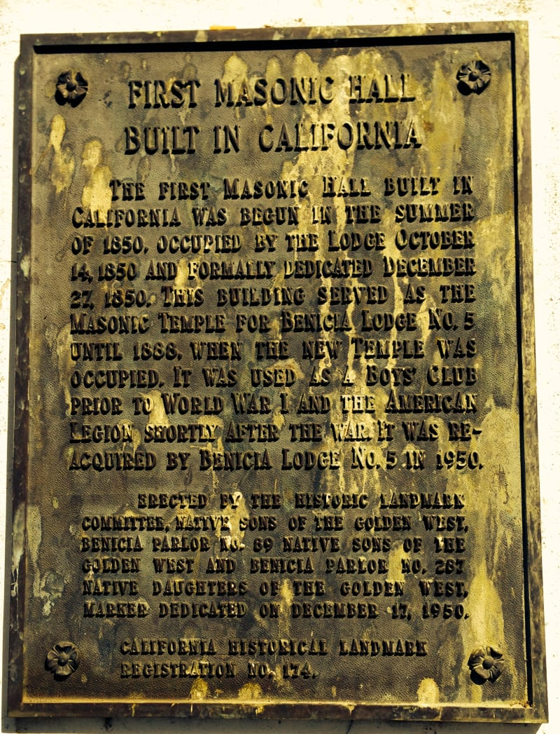 CHL #174 - Benicia Masonic Lodge Private Plaque