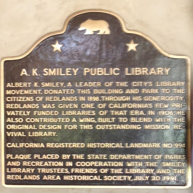 CHL #994 - Smiley Public Library State Plaque