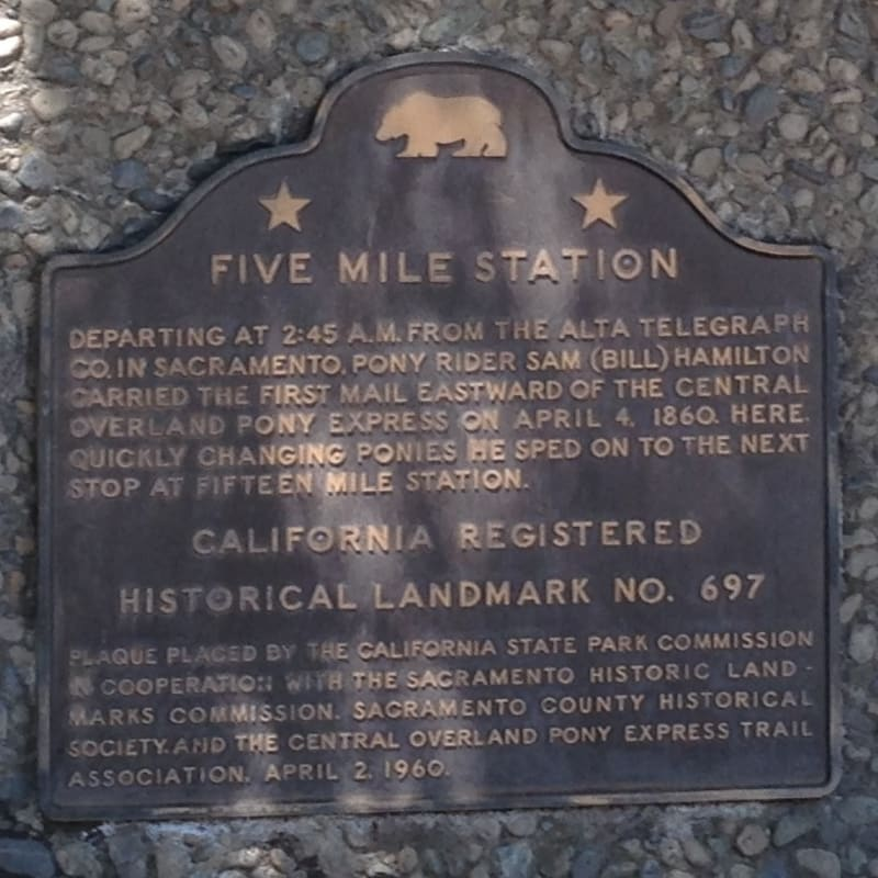 CHL #697 - Pony Express Five Mile House State Plaque