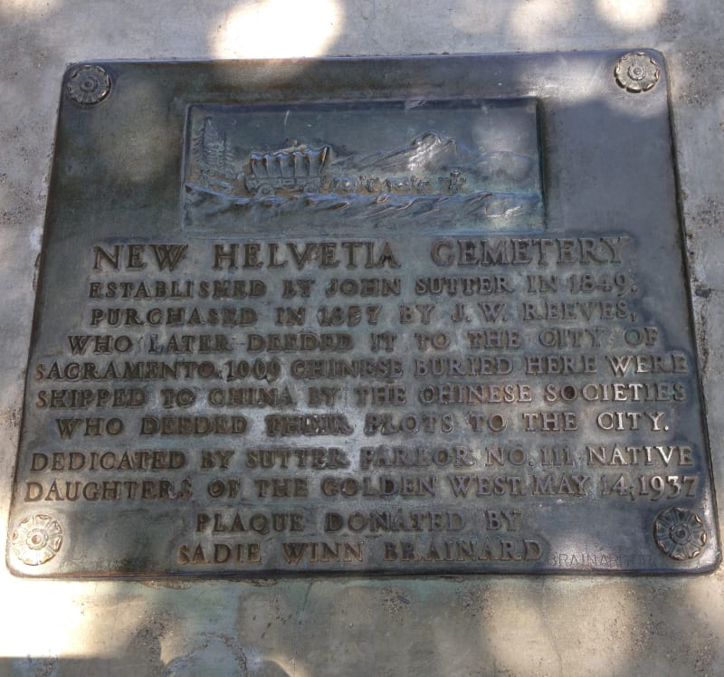 CHL #592 - New Helvetia Cemetery State Plaque