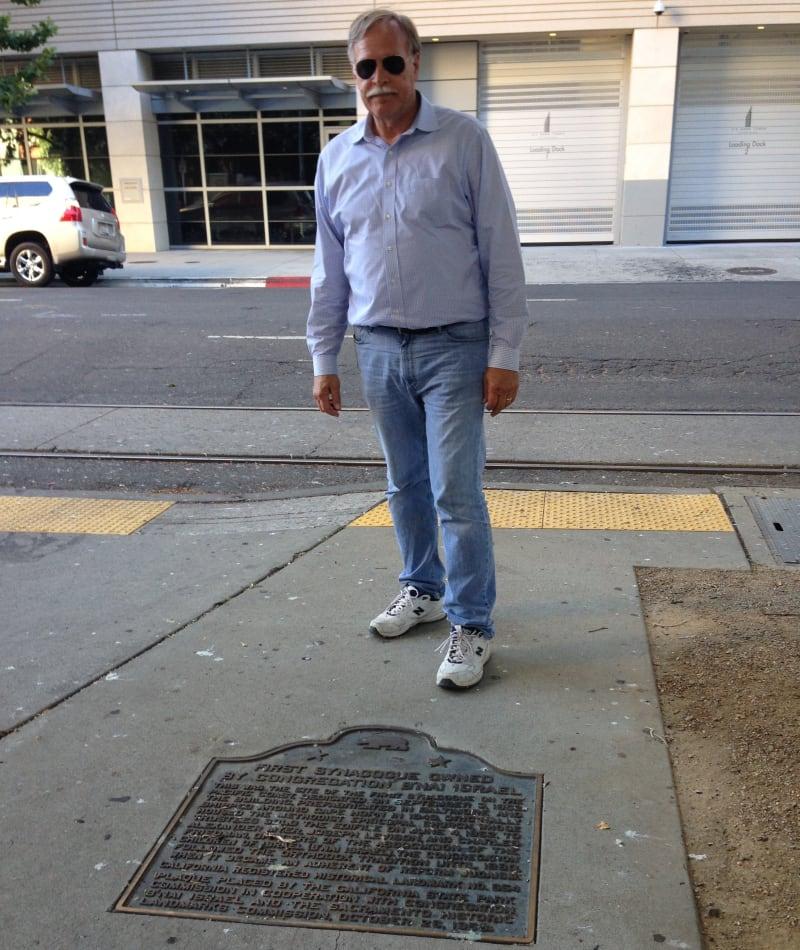 CHL No. 654 Site of Jewish Synagogue Site Plaque in Sidewalk