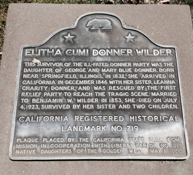 NO. 719 GRAVE OF ELITHA CUMI DONNER WILDER State Plaque